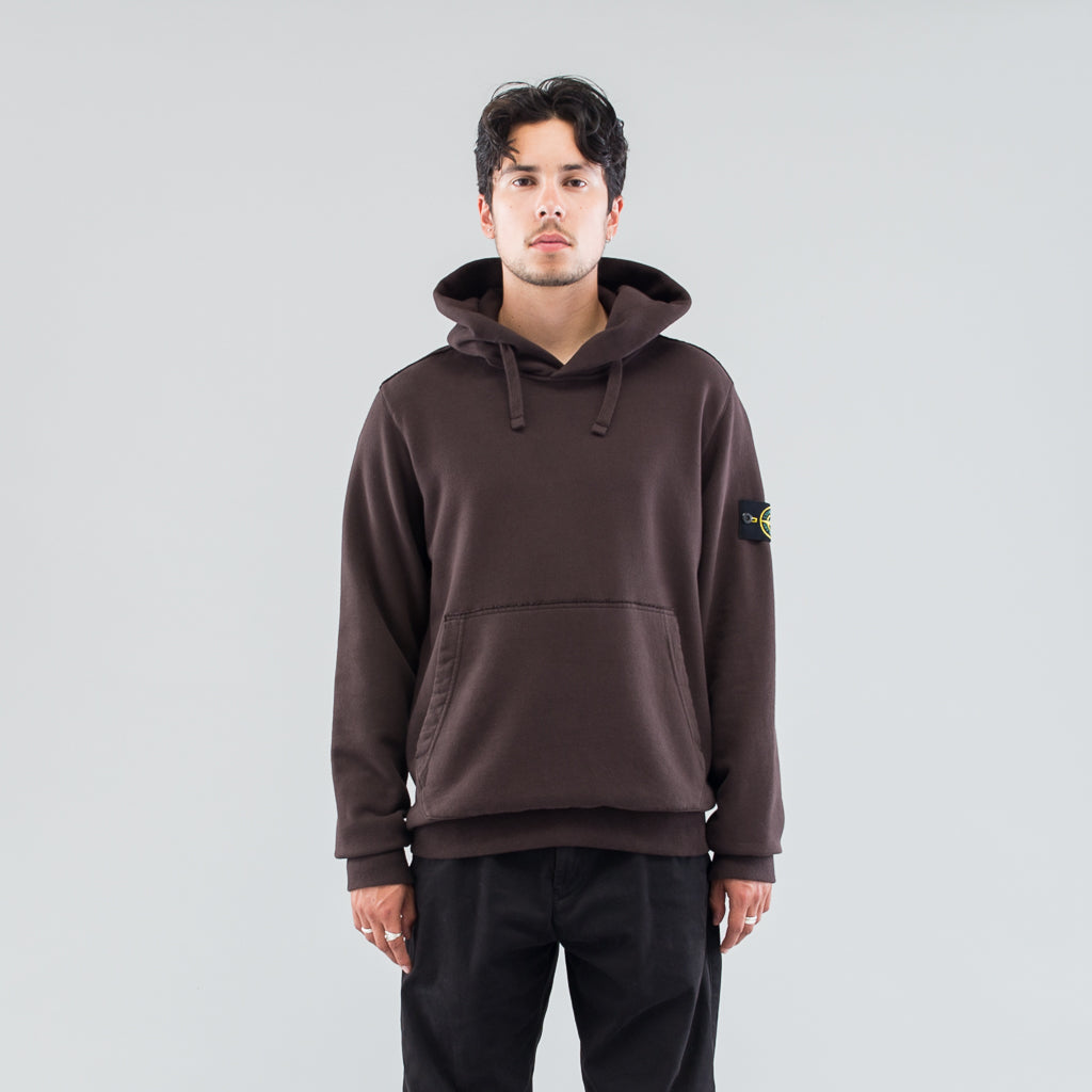 GARMENT DYED HOODED SWEAT - DARK BROWN