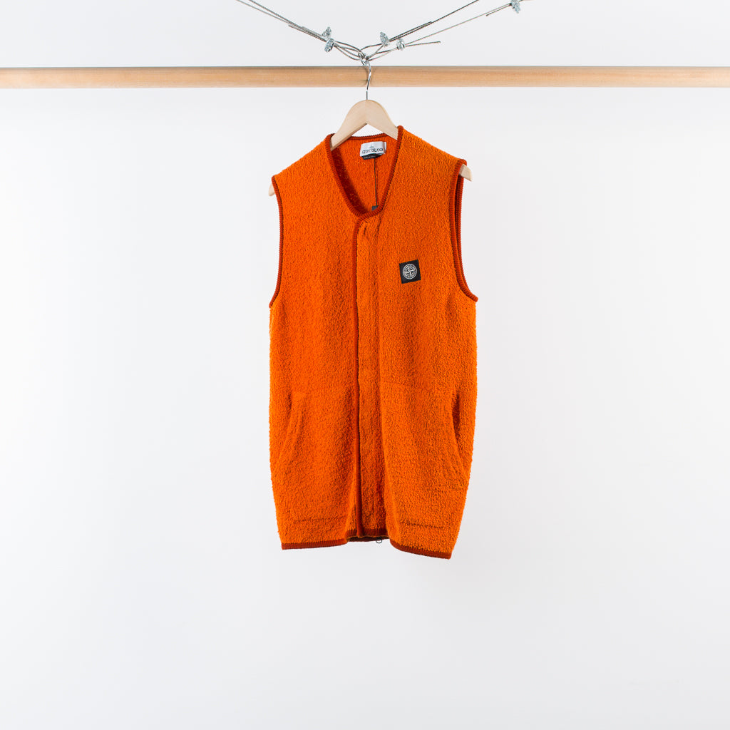 ARCHIVE SALE - STONE ISLAND - TERRY KNIT ZIP VEST ORANGE