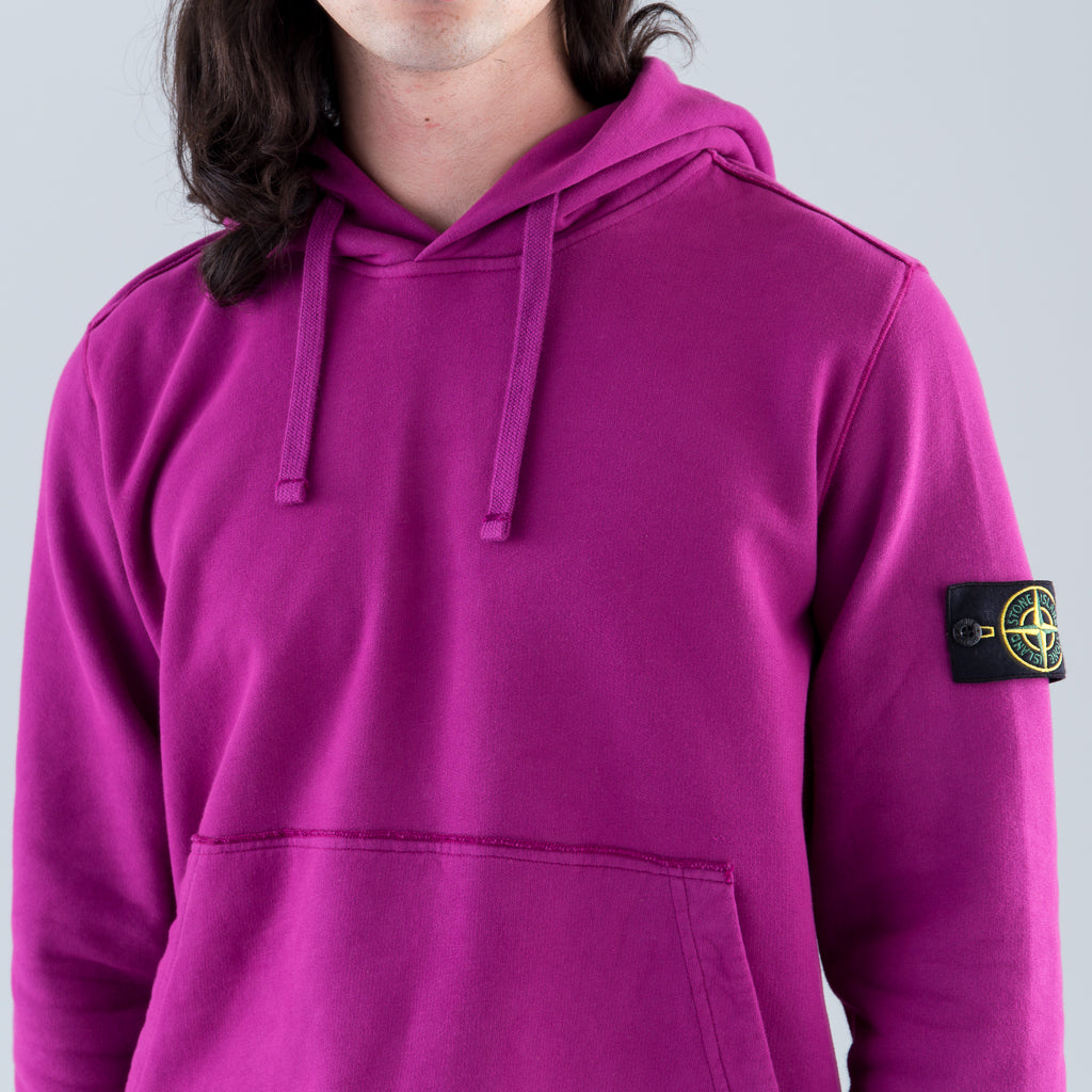 GARMENT DYED HOODED SWEATSHIRT - MAGENTA
