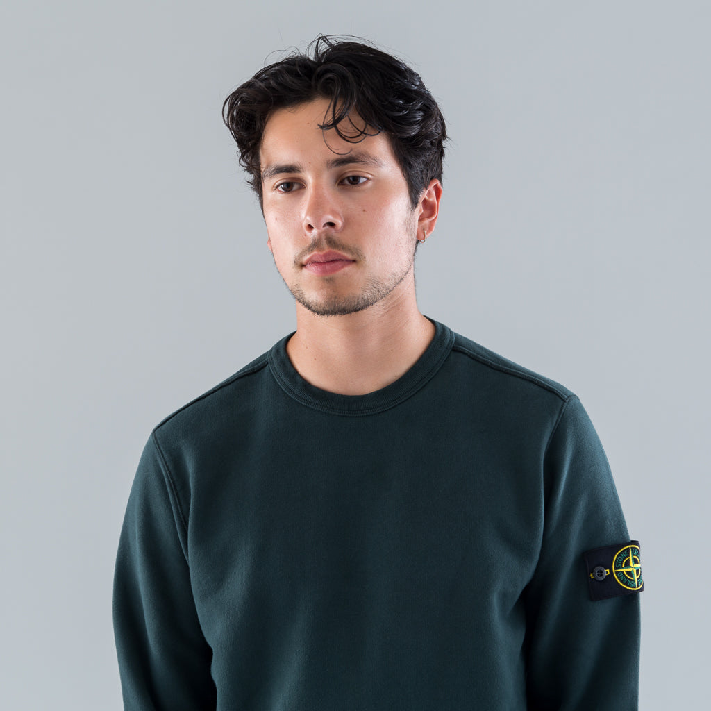 GARMENT DYED CREW SWEAT - PETROL