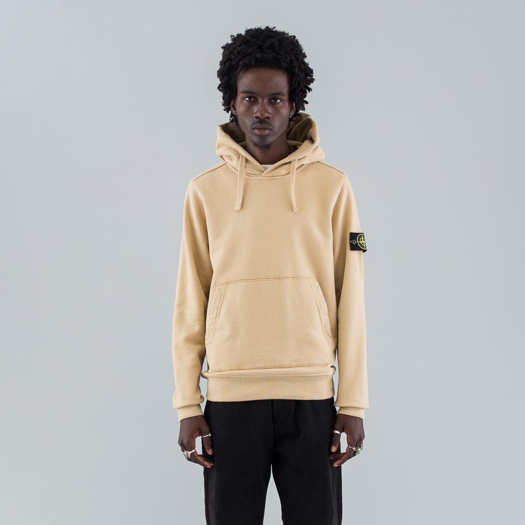 GARMENT DYED HOODED SWEAT - BEIGE