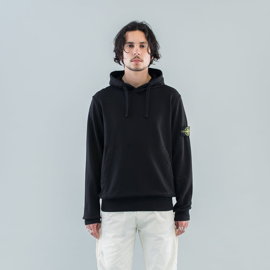 GARMENT DYED HOODED SWEAT - BLACK