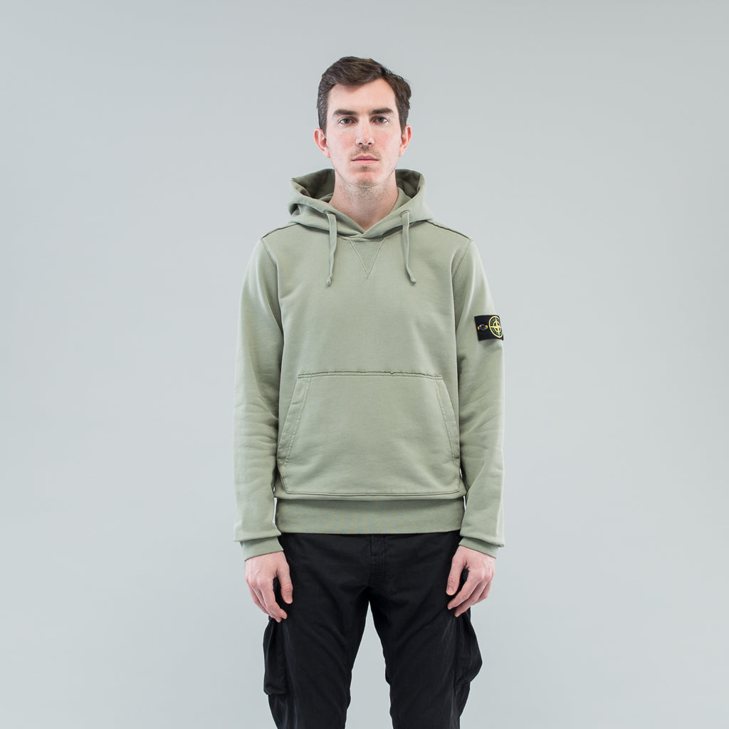 GARMENT DYED HOODED SWEAT - SAGE