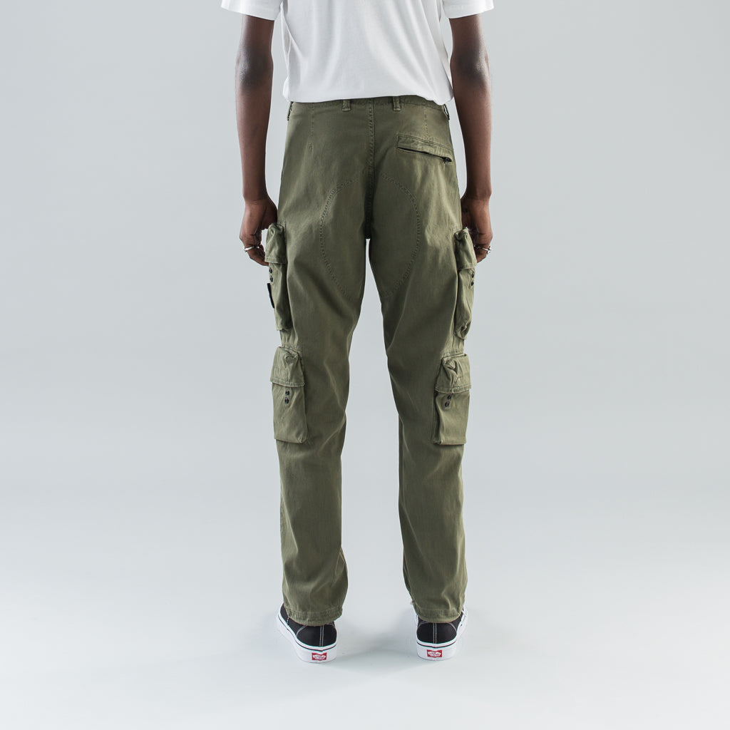 """OLD"" DYE TREATMENT CARGO PANTS - OLIVE"