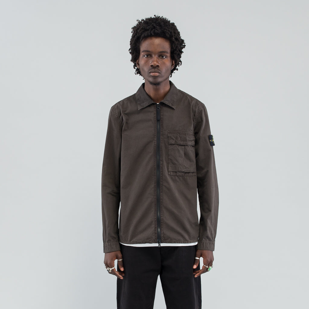 TELA ZIP OVERSHIRT - DARK BROWN