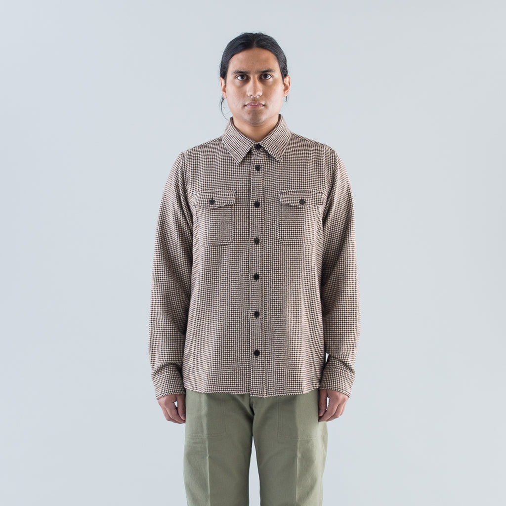 BLACK ELK SHIRT HOUNDSTOOTH (W/LI) - BROWN