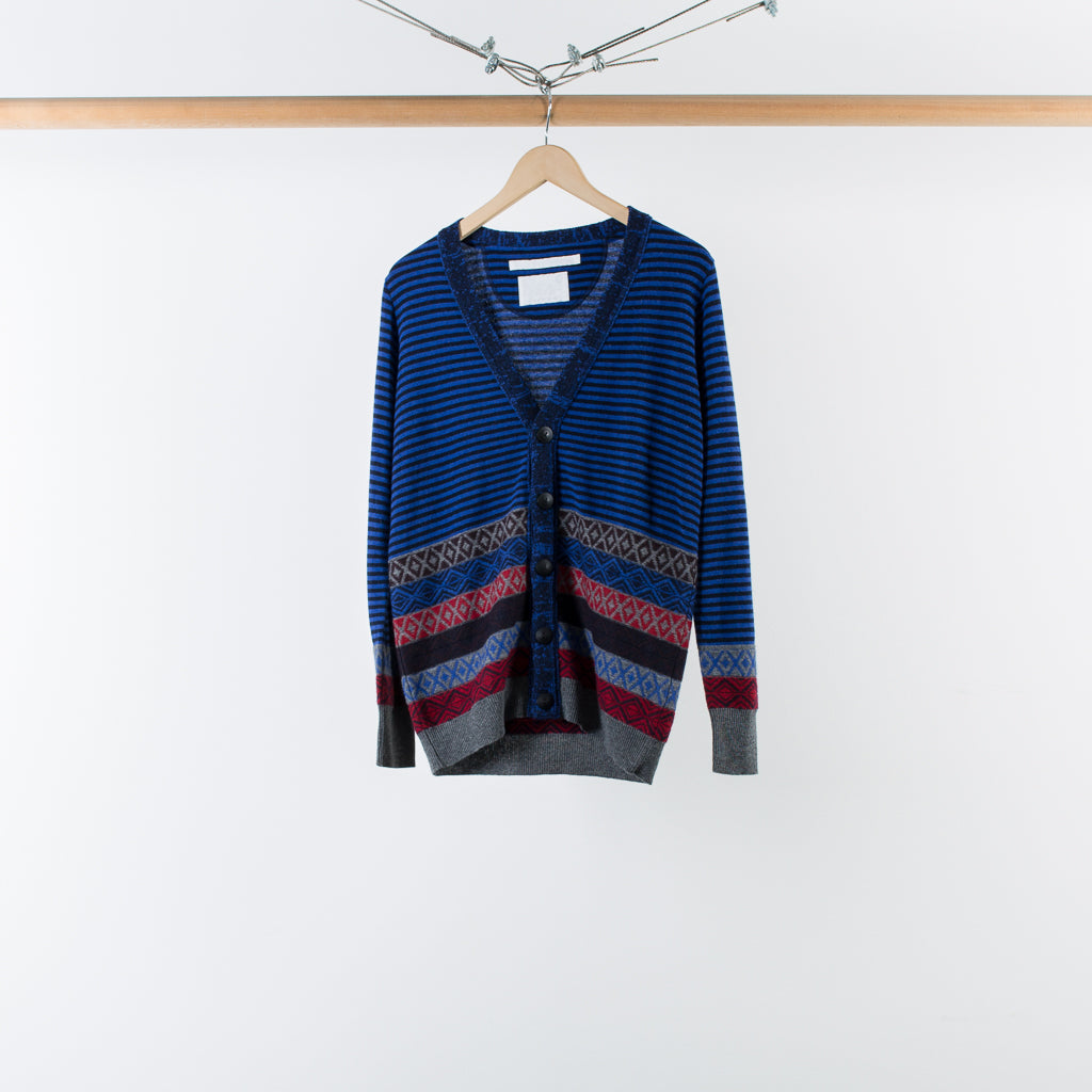ARCHIVE SALE - WHITE MOUNTAINEERING - JACQUARD BORDER KNIT CARDIGAN