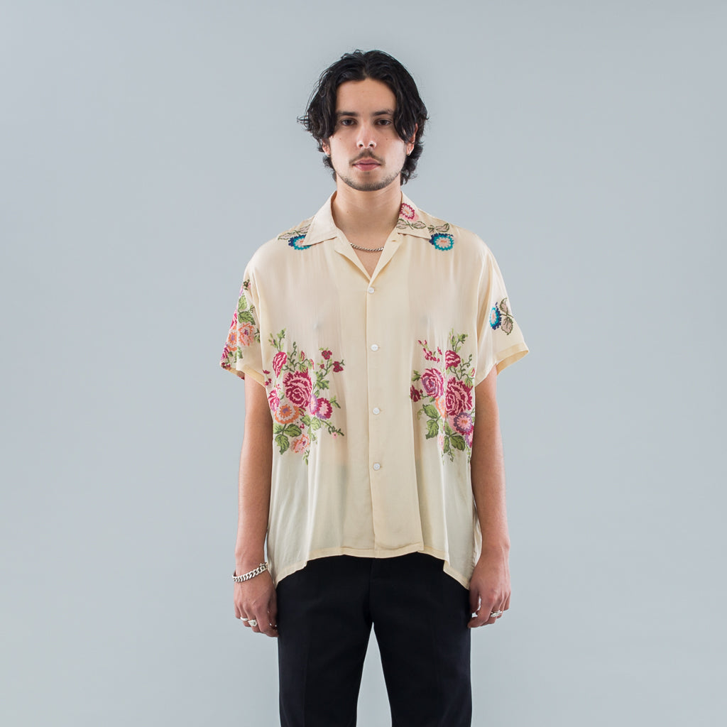 NEEDLEPOINT EMBROIDERY SHIRT - NATURAL