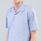 TONAL DOTS SHORT SLEEVE SHIRT - BLUE