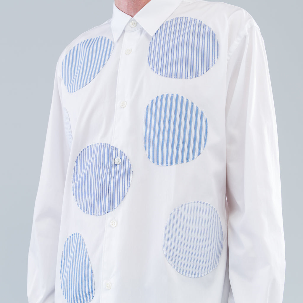 PATCHWORK DOTS SHIRT - WHITE