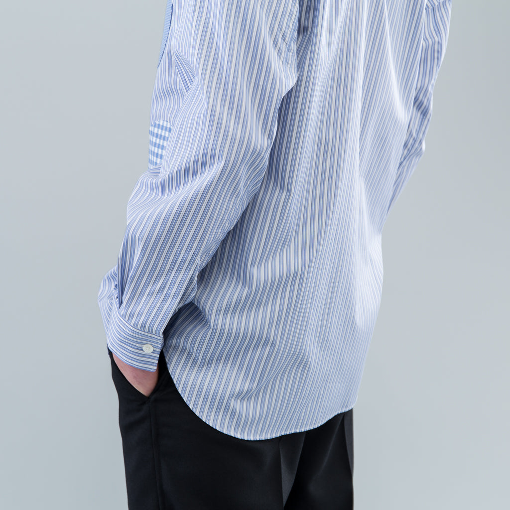 PATCHWORK DOTS SHIRT - BLUE STRIPE