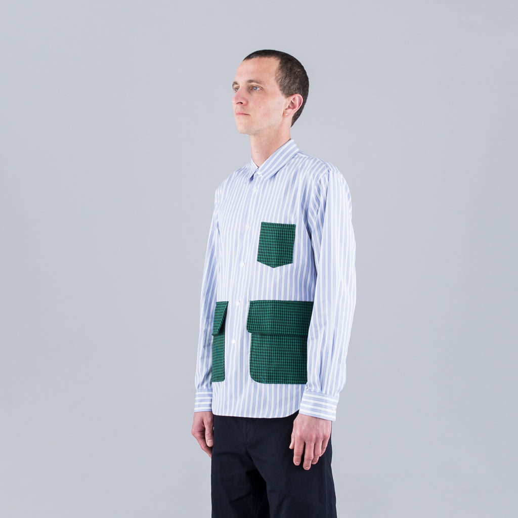 CONTRAST POCKET LONG SLEEVE SHIRT - STRIPE