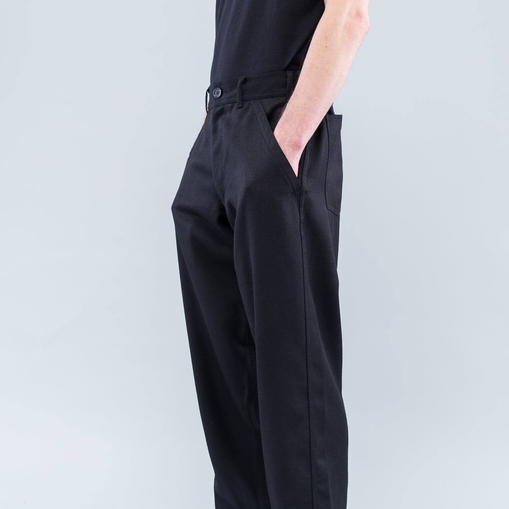 WOOL TWILL TROUSERS - BLACK