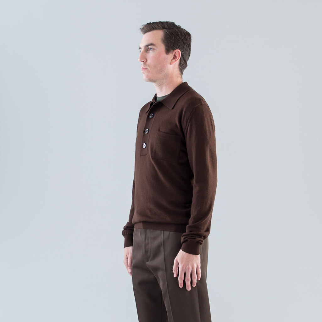 CURTIS KNIT POLO - BROWN