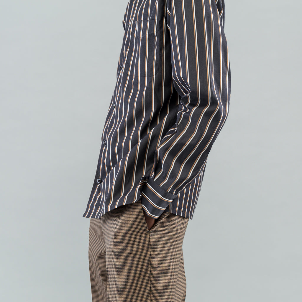 ANGELO SHIRT - BLACK RUST STRIPE