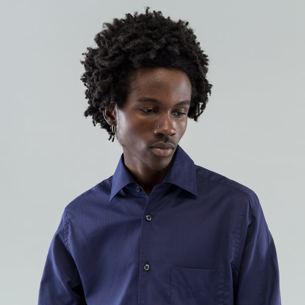 ANGELO SHIRT - NAVY SOLID STRIPE