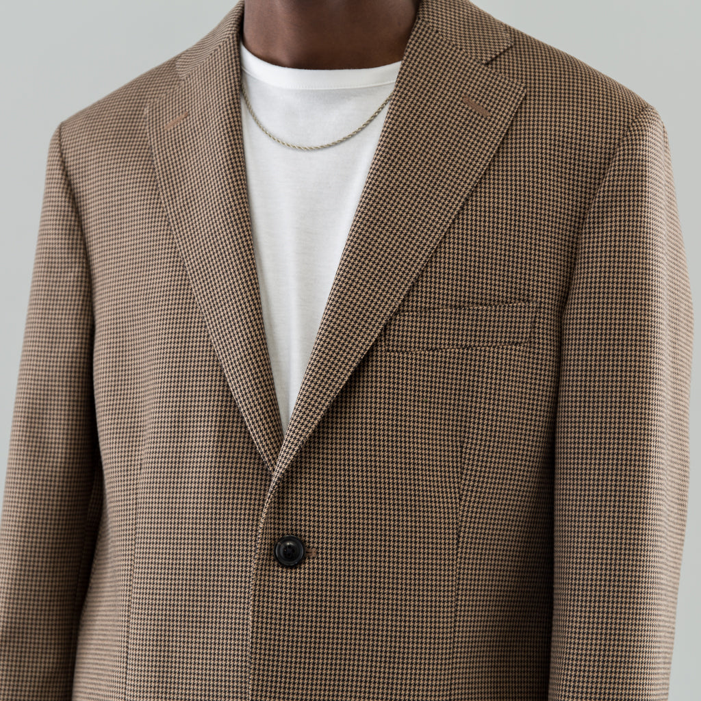 NOTCH LAPEL JACKET - BLACK / BROWN HOUNDSTOOTH