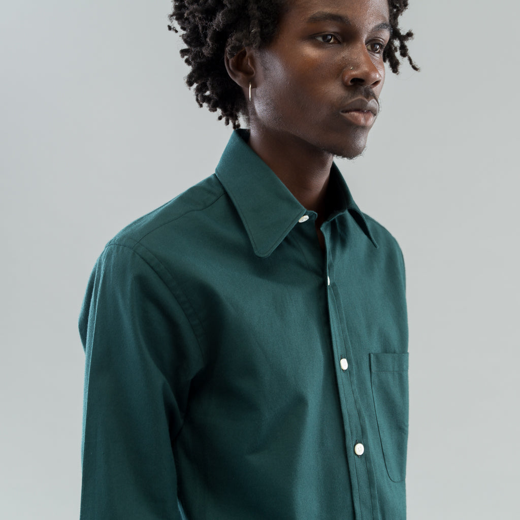ROUNDED COLLAR SHIRT - JAG GREEN FLANNEL