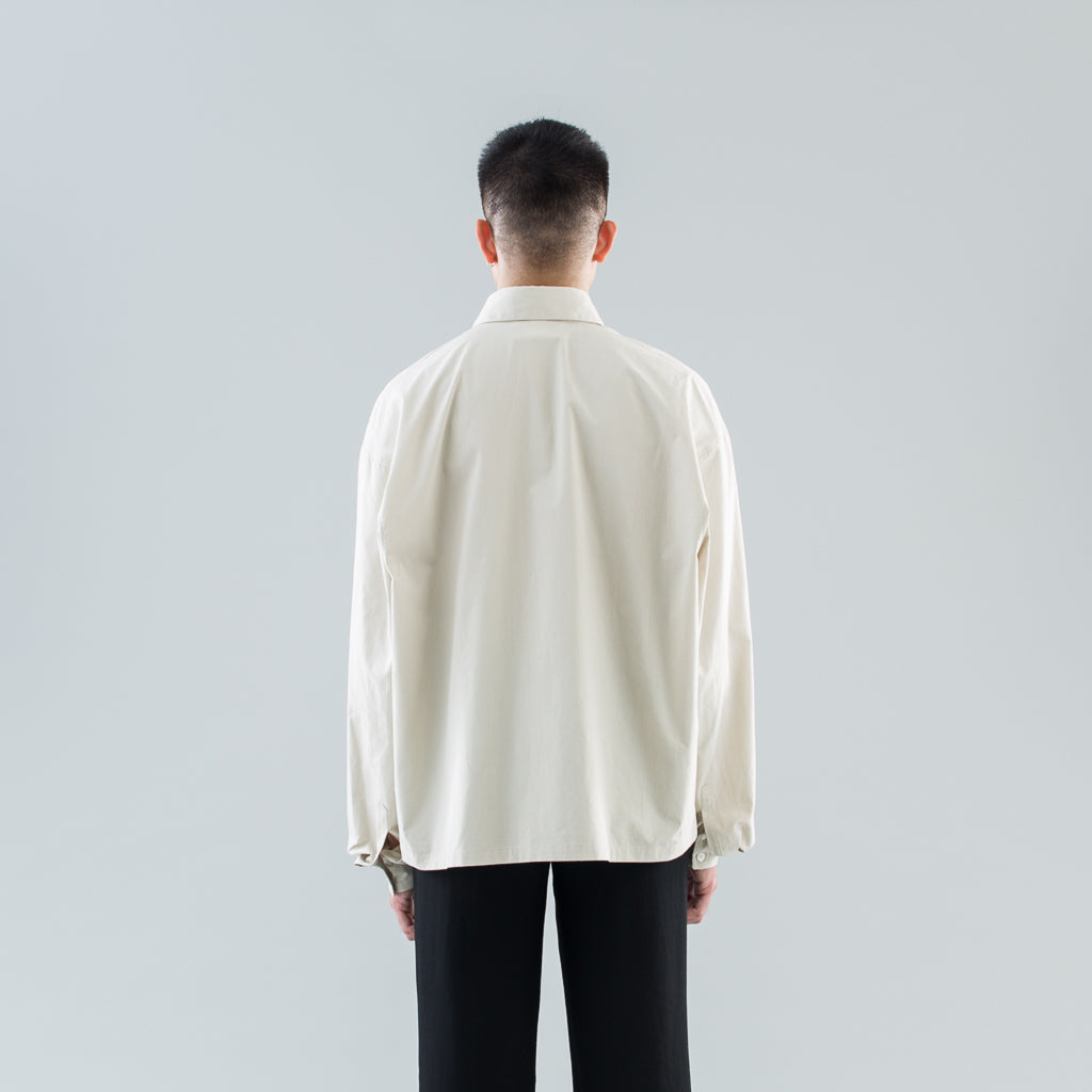 DROP-SHOULDER SHIRT - BEIGE