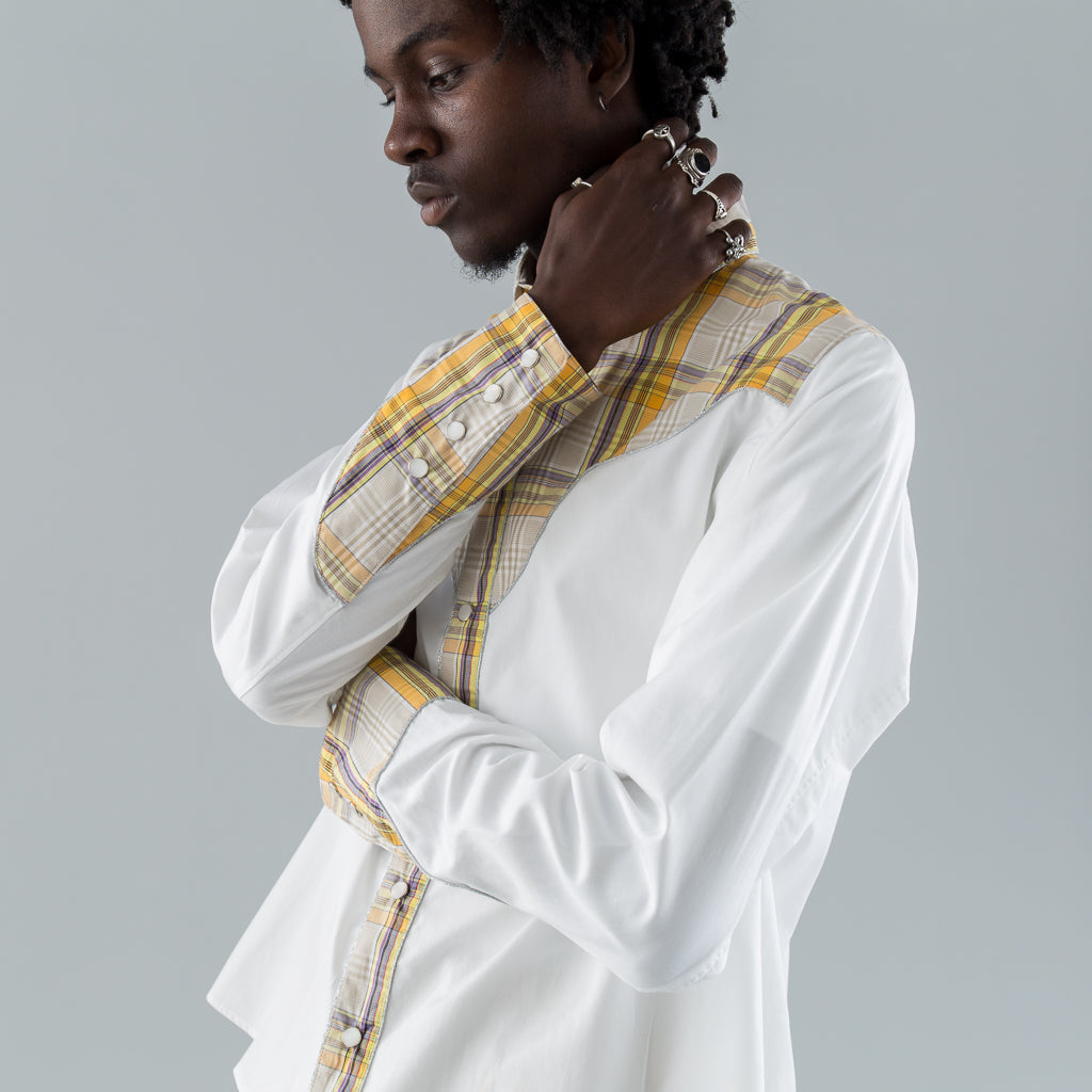 MIX WESTERN SHIRT - WHITE / CHECK