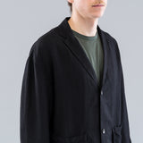 THE LINEN PATCH POCKET JACKET - BLACK