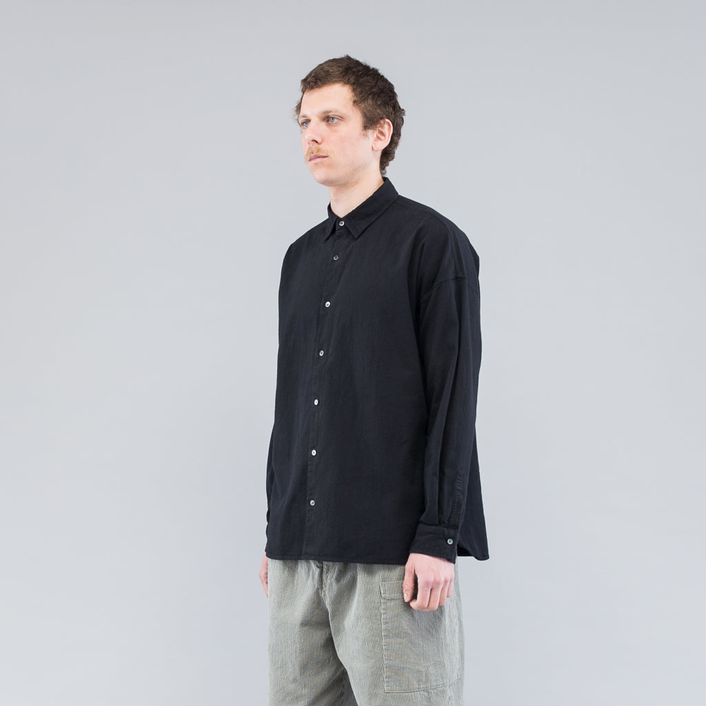 THE THIN STRIPED COTTON LS SHIRT - BLACK
