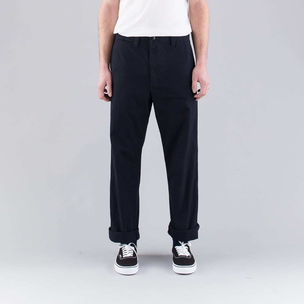 NYLON TWILL GARMENT DYED PANTS - NAVY