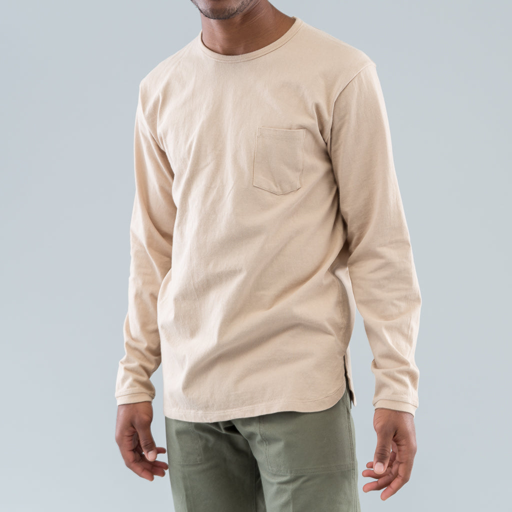 DWELLER L/S TEE COTTON JERSEY HEAVY WEIGHT - BEIGE