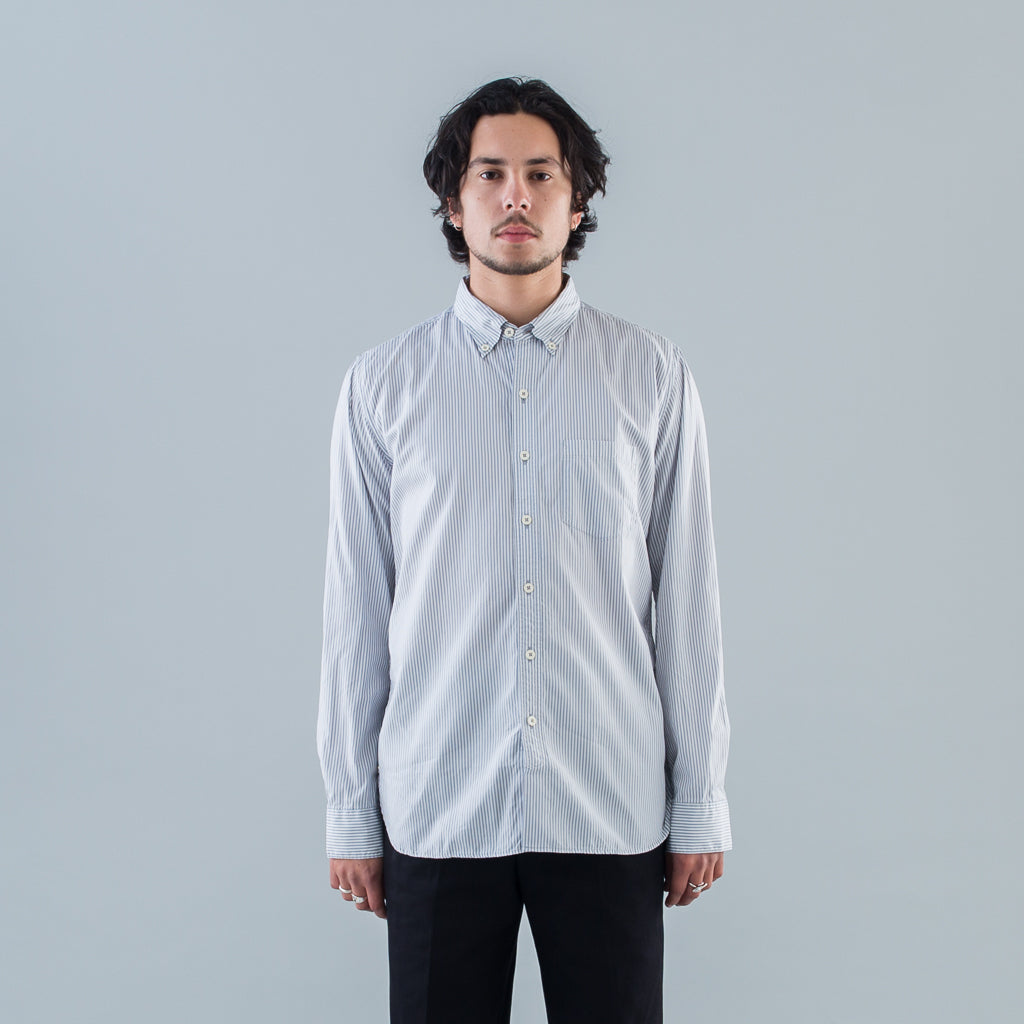DWELLER B.D. SHIRT COTTON BROAD LONDON STRIPE - GRAY
