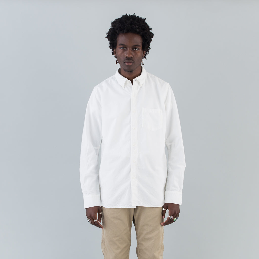 DWELLER B.D. SHIRT COTTON OXFORD OVERDYED - WHITE