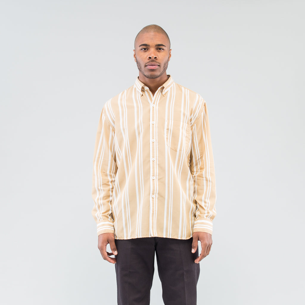 DWELLER B.D SHIRT RELAXED FIT C/T/P TUSSAH STRIPE - BEIGE