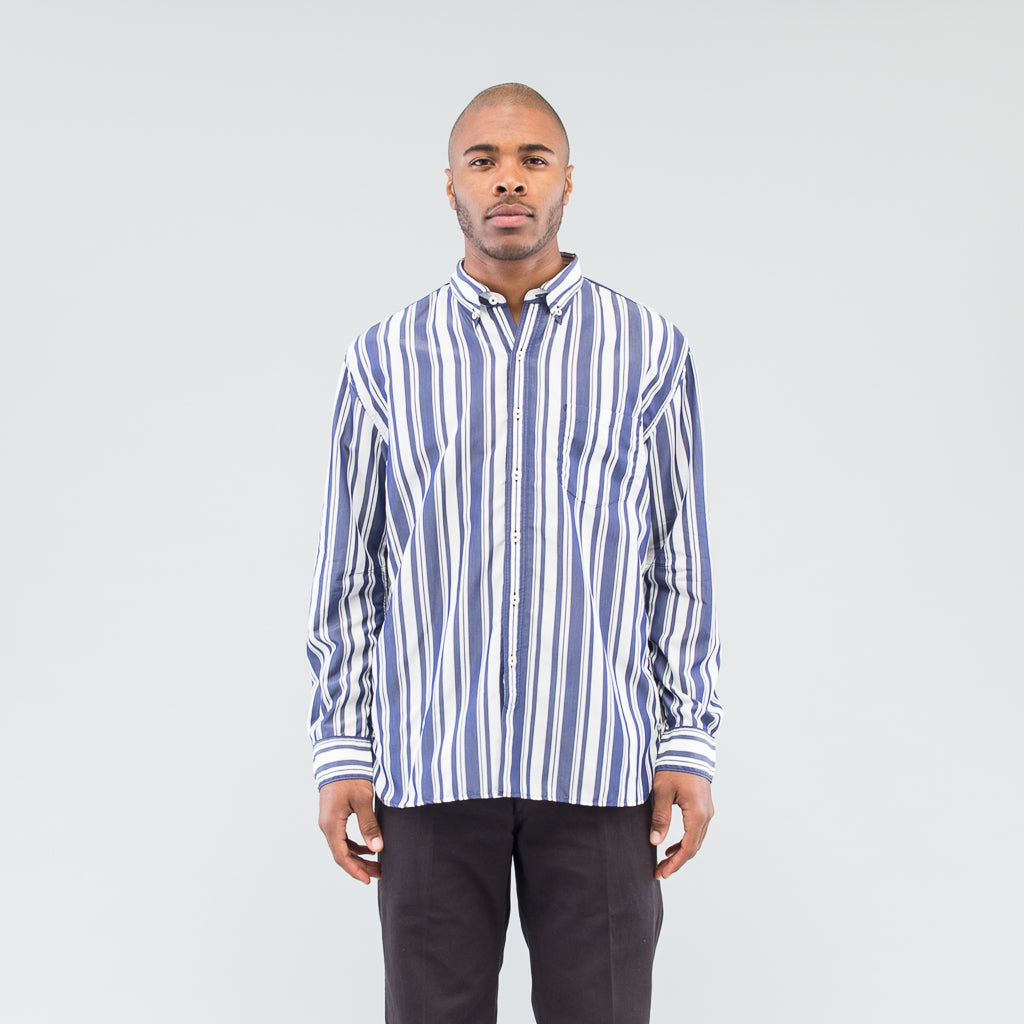 DWELLER B.D SHIRT RELAXED FIT C/T/P TUSSAH STRIPE - NAVY