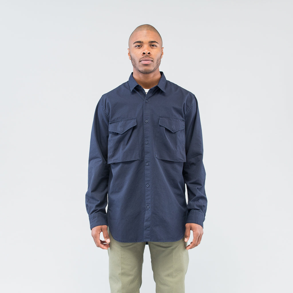HUNTER LONG SHIRT COTTON RIPSTOP - NAVY