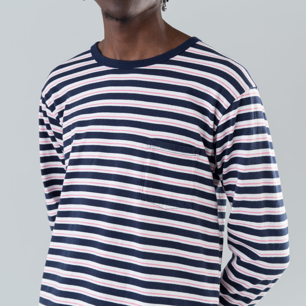 DWELLER L/S TEE COTTON JERSEY BORDER - NAVY