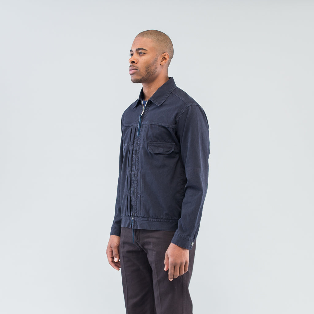 WORKER JACKET COTTON OXFORD OVERDYED - NAVY
