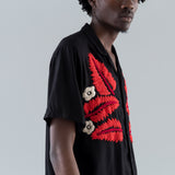 LEAF EMBROIDERY SHIRT - BLACK / ORANGE