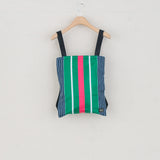 PORTER STRIPE SQUARE BAG - NAVY / GREEN / PINK