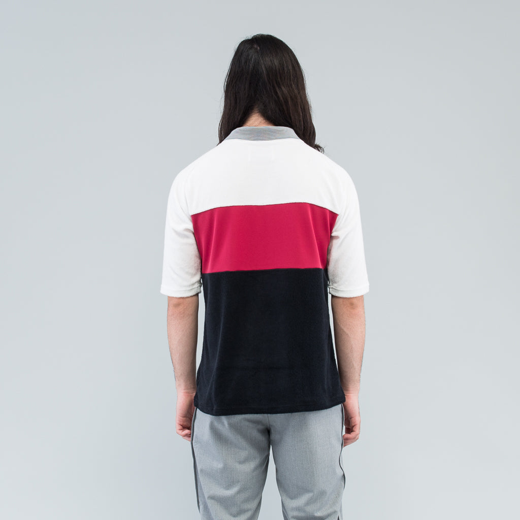 PILE FOOTBALL TEE - WHITE / BURGUNDY