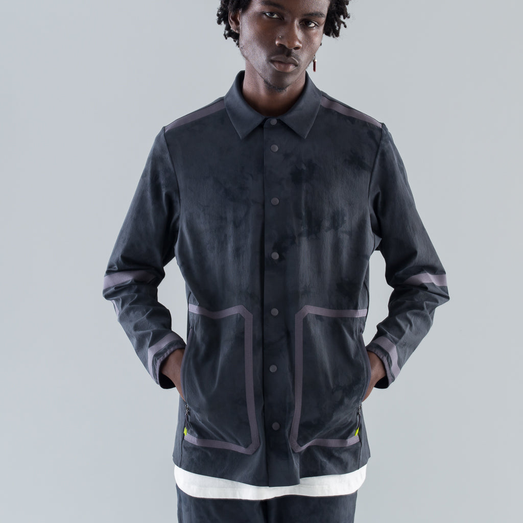 COLLARED LS SHIRT TIDAL DYE - MELANITE DEEP COAL
