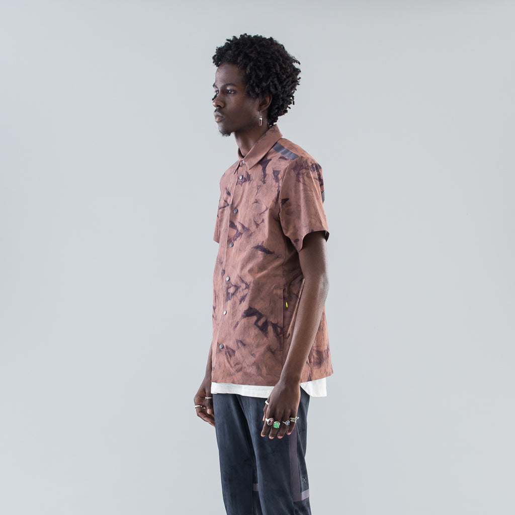 COLLARED SS SHIRT TIDAL DYE - RED DUST MAGNUM