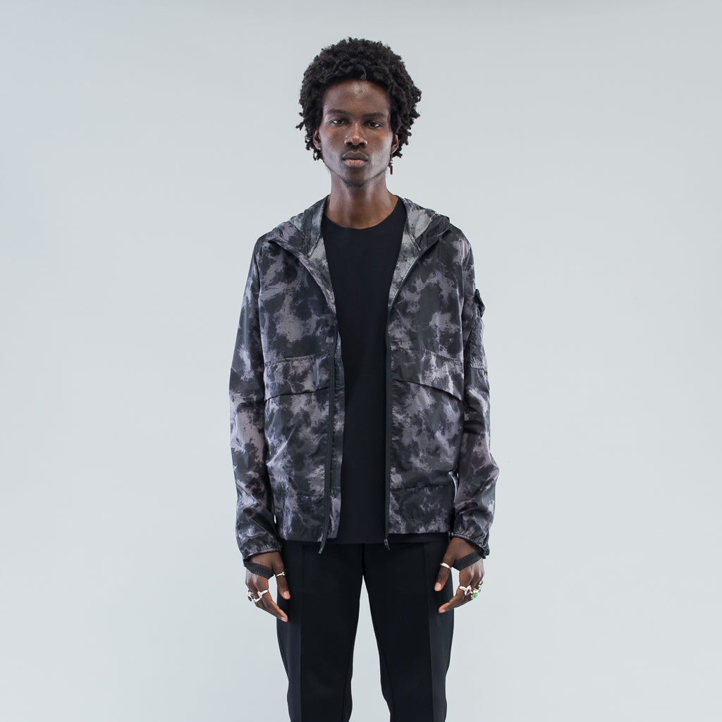 PACKABLE WINDBREAKER - GREY TIE-DYE