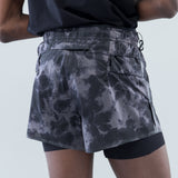 "LONG DISTANCE 3"" SHORTS - GREY TIE-DYE"