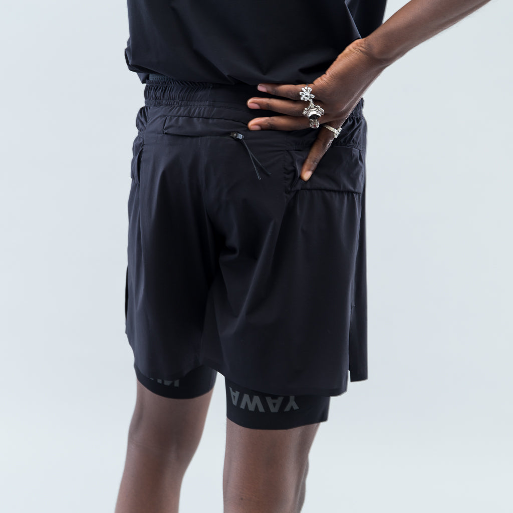 "JUSTICE TRAIL LONG DISTANCE 10"" SHORTS - BLACK"