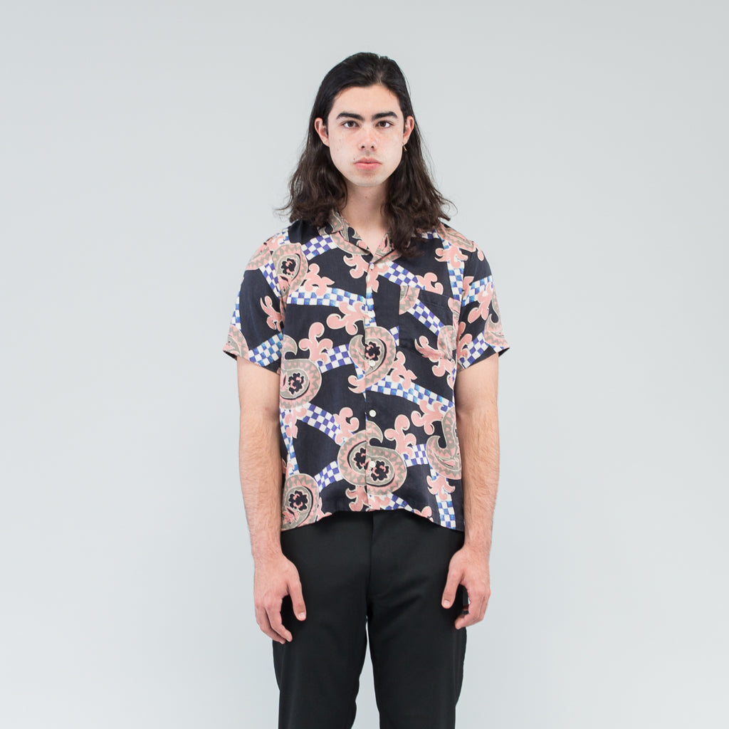 CHECKERED PAISLEY SUMMER SHIRT - BLACK