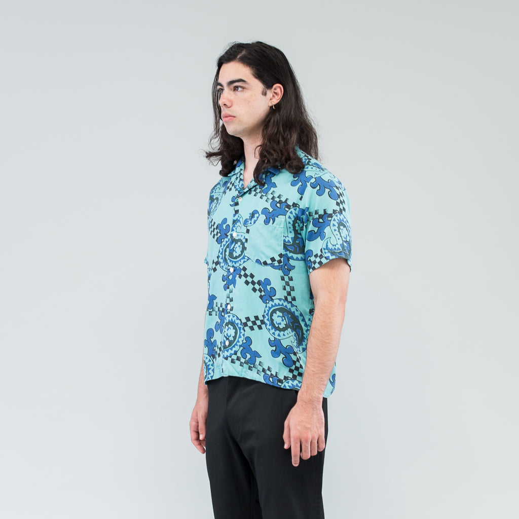 CHECKERED PAISLEY SUMMER SHIRT - TURQUOISE