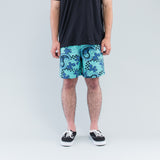CHECKERED PAISLEY SUMMER SHORTS - TURQUOISE