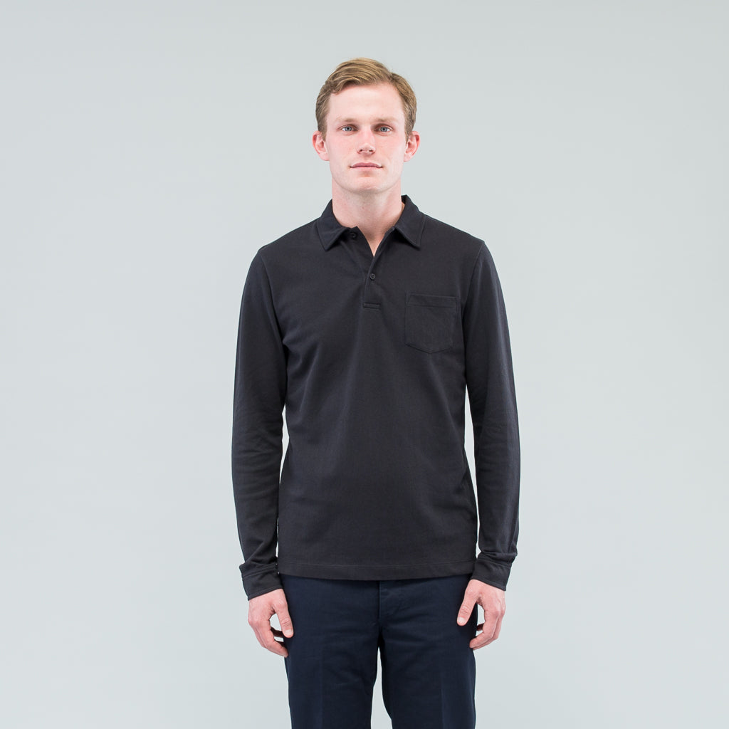 LONG SLEEVE RIVIERA POLO - BLACK