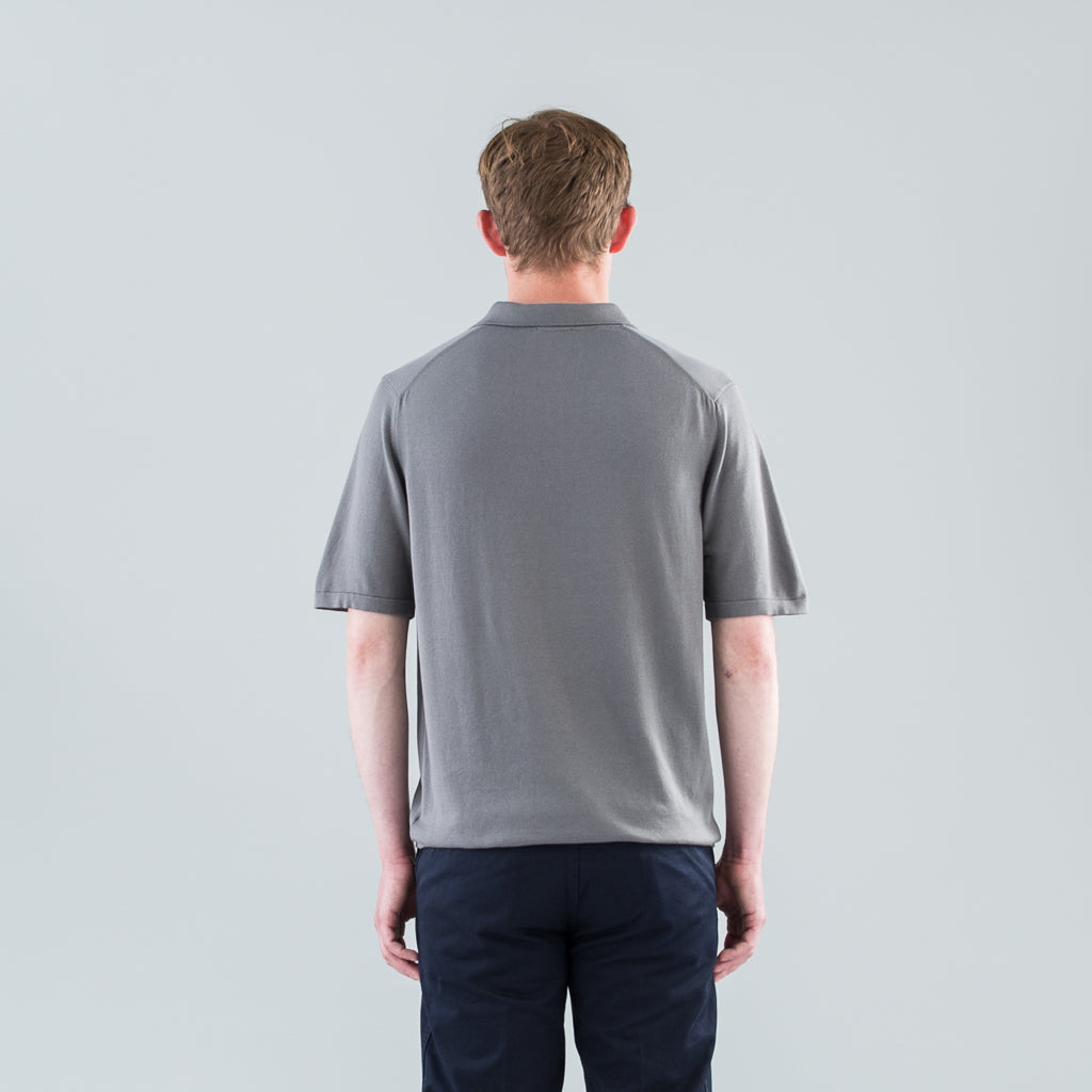 SEA ISLAND KNIT POLO - MAGNESIUM