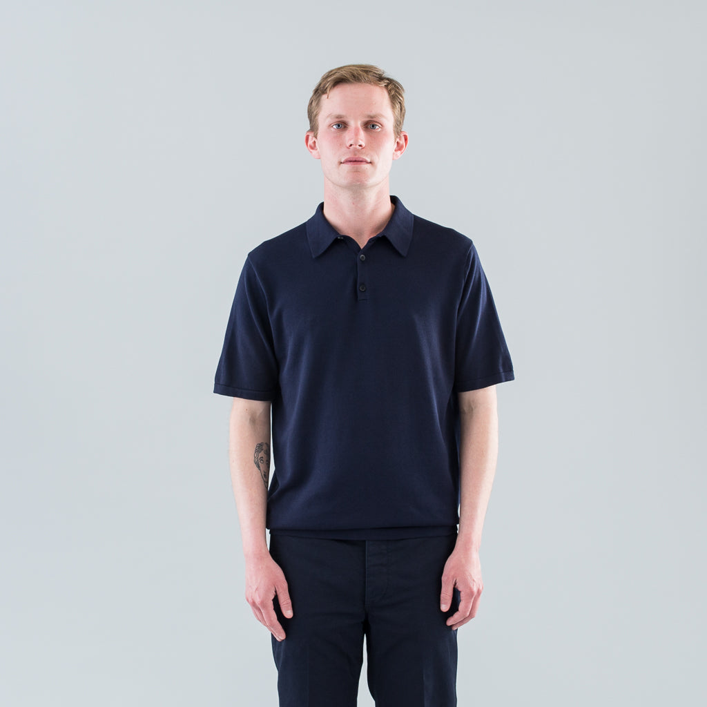 SEA ISLAND KNIT POLO - LIGHT NAVY