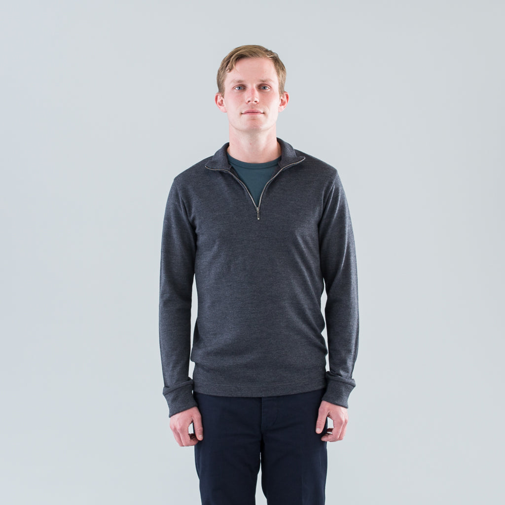 LONG SLEEVE ZIP NECK SWEATER - CHARCOAL